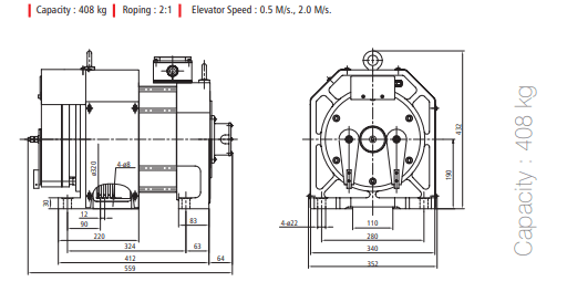 ADON HEPU POWER GEARLESS MOTORS 408 KG Diagram