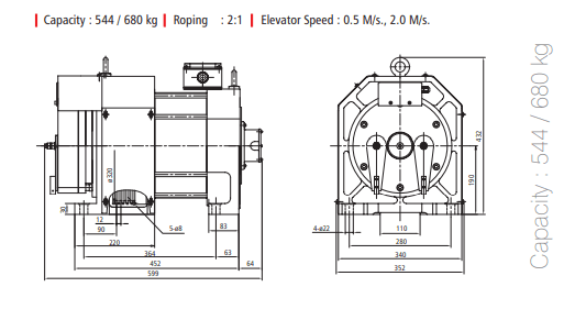 ADON HEPU POWER GEARLESS MOTORS 544 - 680 KG Diagram