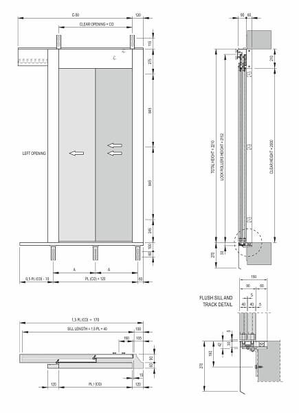 Fermator 2-panel-side-opening-landing-door-drawing-model-40