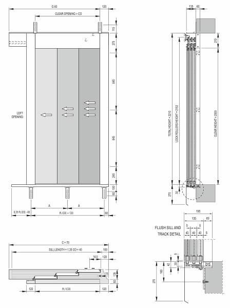 Fermator 3-panel-side-opening-landing-door-drawing-model-40