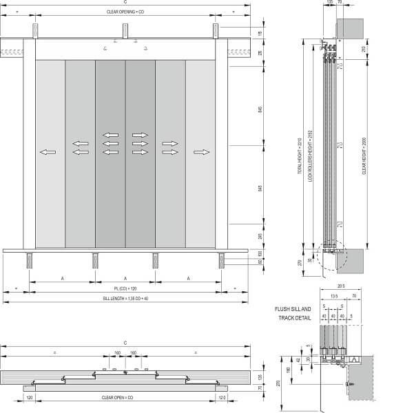 Fermator 6-panel-centre-parting-landing-door-model-40-10