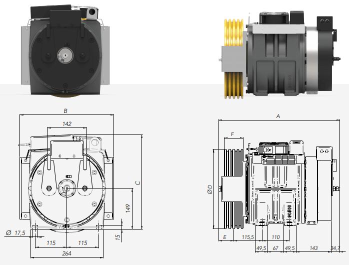 Monatnari MGI27S Gearless Lift Motor Technical Diagrams