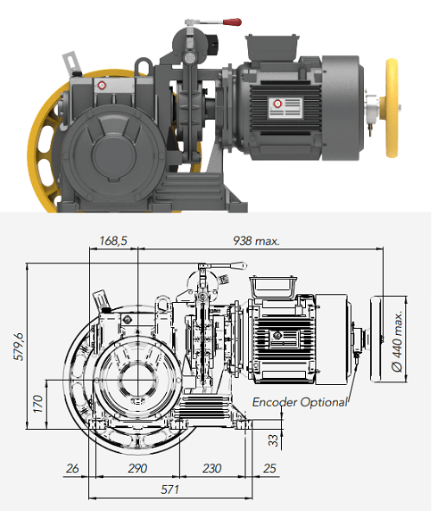Montanari M87 Gearbox Lift Motor Technical Drawings
