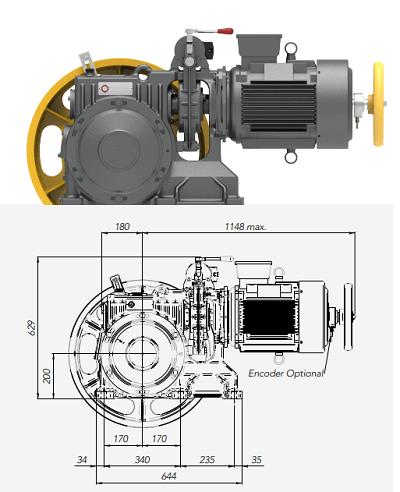 Montanari M93 Gearbox Lift Motor Technical Drawings