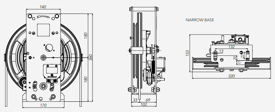 RQ Montanari Speed Governor Narrow Base Technical Drawings