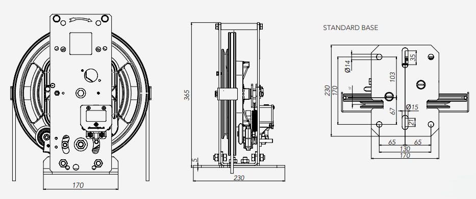 RQ Montanari Speed Governor Standard Base Technical Drawings
