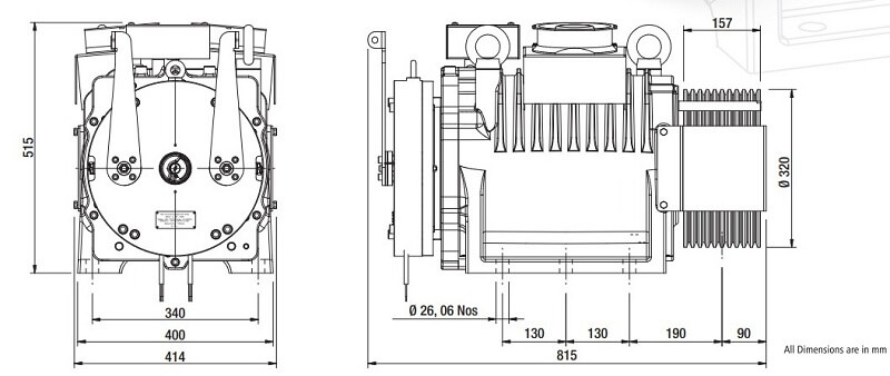 Sharp SEG-50 Gearless Elevator Traction Machine Diagrams