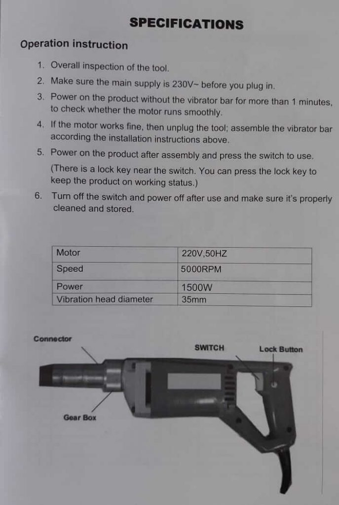 YTAL Handy Electric Concrete Vibrator Instruction & Specifications